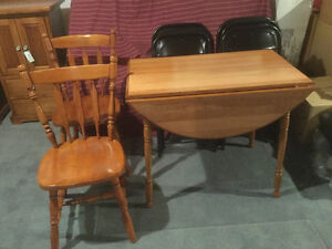 MAPLE DROP LEAF TABLE AND TWO CHAIRS