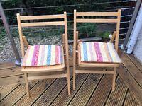 2 folding kitchen chairs