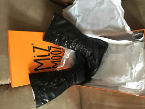Brand New Miz Mooz Bloom Black Leather Boots Size 7 - Wide Calf