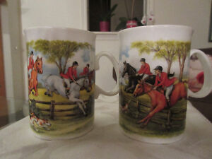 2 Jason Fine Bone  English China Mugs - Hunting scenes