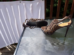 BRONZE BROWN LEATHER ADJUSTABLE PLATFORM SHOE