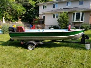 Aluminum Boat with 15 hp motor and trailer
