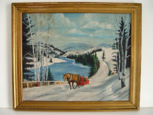 "Original Antique Winter Oil Painting: ""Country Sleigh Ride"""
