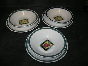 3 PAIR OF SOUP BOWLS with MATCHING PLATES-VERY GOOD CONDITION