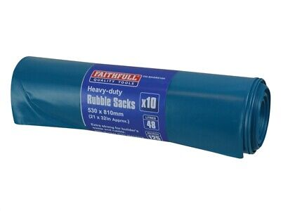 Faithfull Blue Heavy-Duty Rubble Sacks (10) FAIBAGRS10H