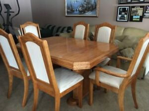 Solid Oak Dining Room Set with China Cabinet
