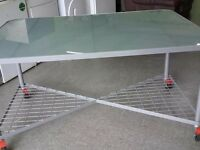 SALE NOW ON!! Glass Top Table / Office Desk On Wheels - Can Deliver For £19