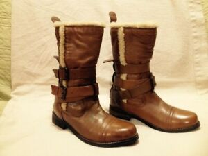 As New Aldo Tan Leather Short Fleece Lined Moto Boots 38M
