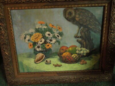 Vintage Owl Painting, on board, artist unknown