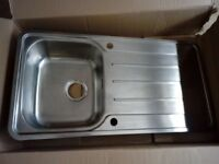 Modo Stainless Steel Reversible Single Bowl Kitchen Sink and Waste.
