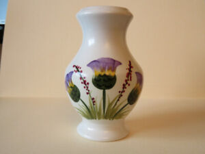 Pottery Vase, Purple Flowers, Made in England