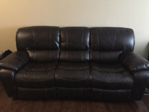 Faux-Leather Power Reclining Sofa