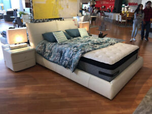 King Size Bed Frame and Side Tables (Genuine White Leather)
