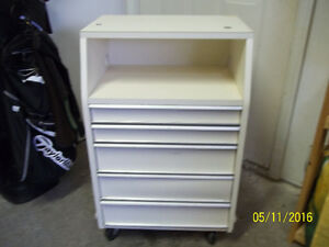 Utility Cabinet with Five Steel Pullout Drawers and on Casters