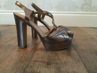 Brand New - 70's Gold Platform Sandals - size 39/6