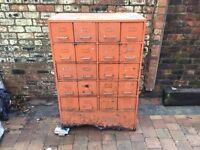 1948 Old Orange Large Metal Industrial 20 Drawer Cabinet