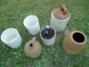 Lot of 7 pottery crocks and pots.