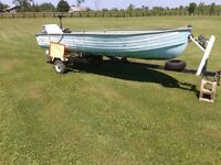 14 foot Aluminum boat with 15hp
