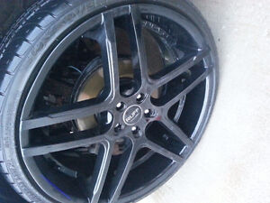 "22"" wheels  ruff racing with tire  lots of tread 90% 5x114.3"