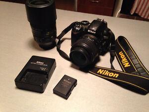 Nikon D3100 camera and 2 lenses