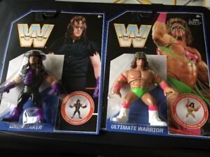 WWE/WWF Undertaker & Ultimate Warrior Retro Matel Figures RARE
