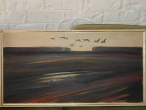 """Oil on Canvas """"Geese at Sunset"""" Oxenford Gold Coast North Preview"""