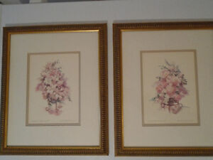 VINTAGE GRAND & GLORIOUS I AND II WATERCOLOR PRINT SIGNED