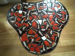 Petite table bois céramique vintage