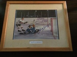 Framed Bobby Hull / Johnny Bower Autographed Photograph!!