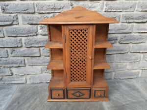 SMALL WOODEN CURIO DISPLAY CABINET