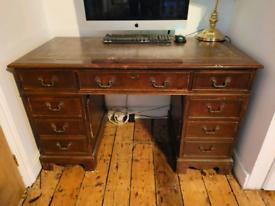 Vintage Twin Pedestal Leather Top Desk