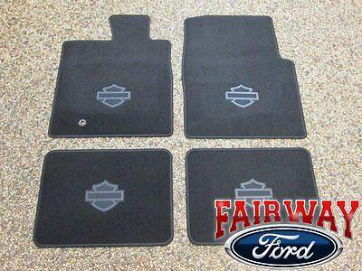 04 thru 08 F150 Crew OEM Ford Harley Davidson Black Carpeted Floor Mat Set 4pc