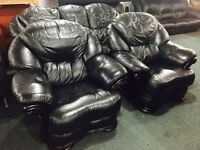 As new black leather 3 11 sofa set
