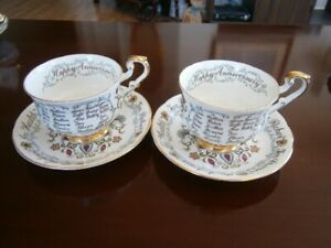 PARAGON HAPPY WEDDING ANNIVERSARY TEACUPS