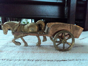 Brass & Metal Horse with Cart