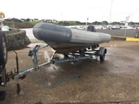 Avon searider 5.4 rib boat outboard and trailet