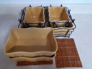 """13 pc Temp-tations Country Lace Oven to Table """"Mustard"""" dishes"""