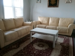 2 Natuzzi couches and 3 coffee tables