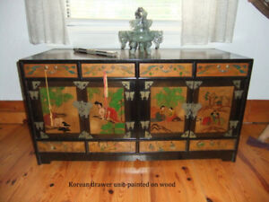 Painted Wood Storage box from Korea