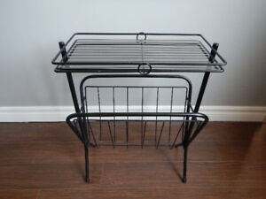 black metal glass top side table with magazine rack