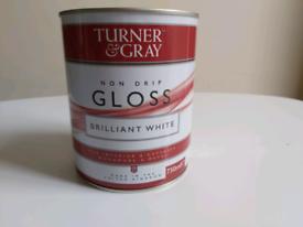 TURNER & GRAY NON DRIP Gloss BRILLIANT White Paint 750ml