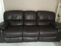 3 & 2 seater brown leather recliner suit with storage footstool