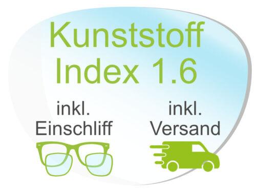 2 Brillengläser inkl. Einschliff/Versand (Kunststoff1,6 Super-ET, Hart, Clean)