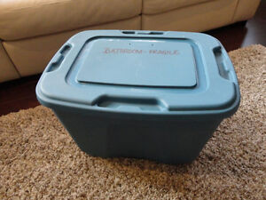 "Blue Storage Tub - Decent Shape 24"" Long x 18"" wide x 16.5""Tall"