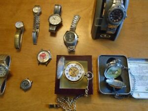 WATCH COLLECTION,10 PIECES,2 NEW POCKET WATCHES IN BOX VERY NICE