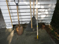 various garden and yard tools