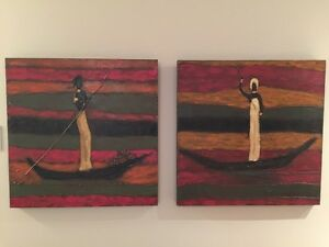 Two textured paintings
