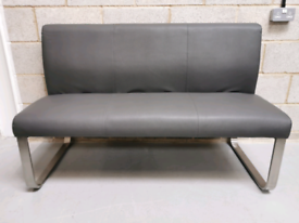 Furniture Village Cocoon Grey Faux Leather 3 Seater Dining Bench