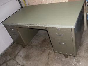 Vintage / Antique industrial office / school metal Tanker Desk