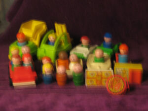 wooden fisher price little people and vehicles